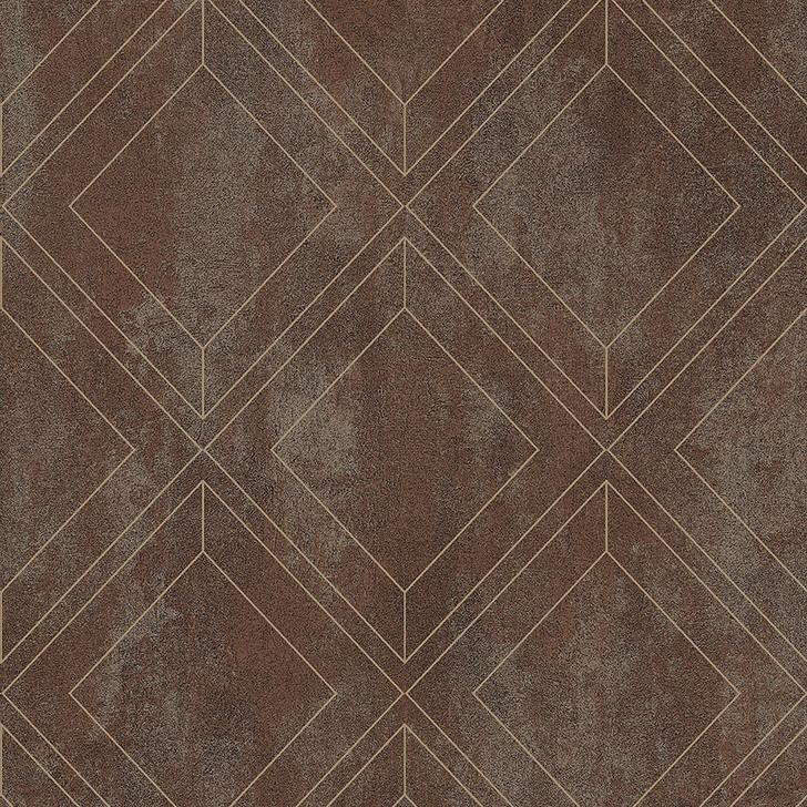 Mineheart Rustic Brown Geometric Trellis Wallpaper