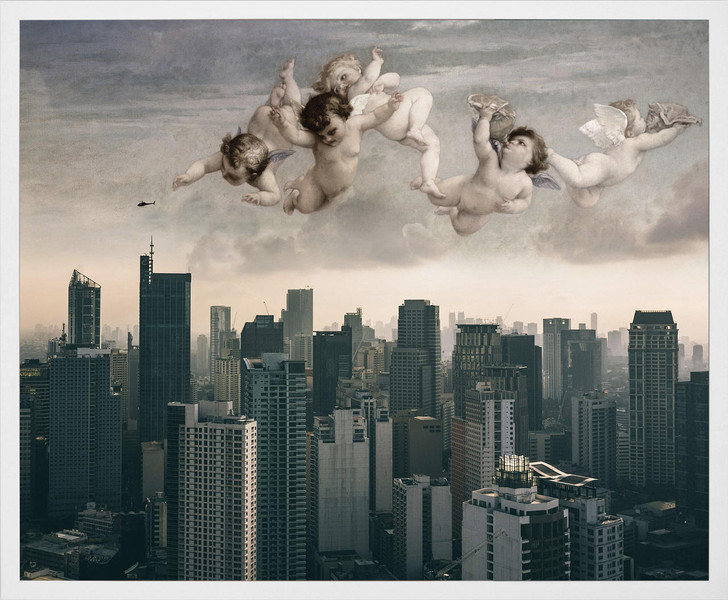 Young and Battaglia Angels over city Framed Printed Canvas