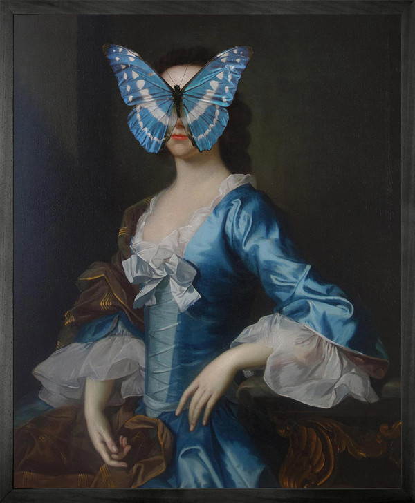 Young and Battaglia Portrait of Blue and White Butterfly on Lady