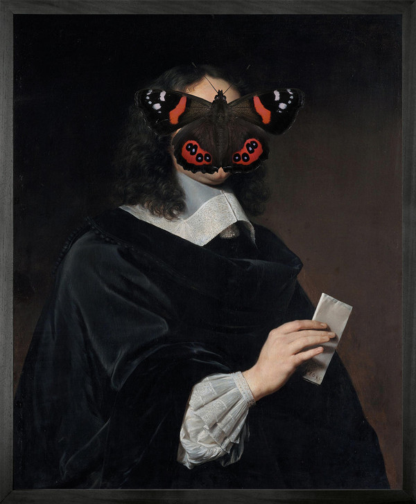 Young and Battaglia Portrait of Black and Red Butterfly on Man