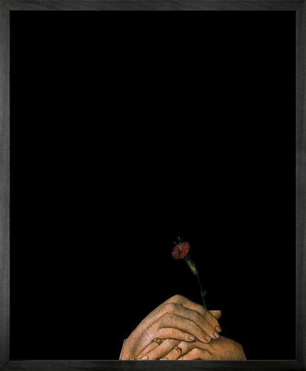 Young and Battaglia Hands Holding Flower Framed Printed canvas