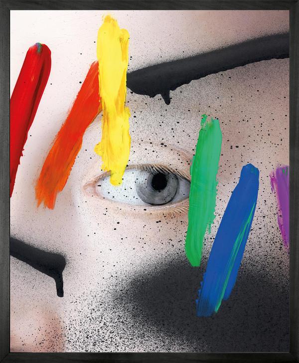 Chad Wys Rainbow graffiti over blue eye