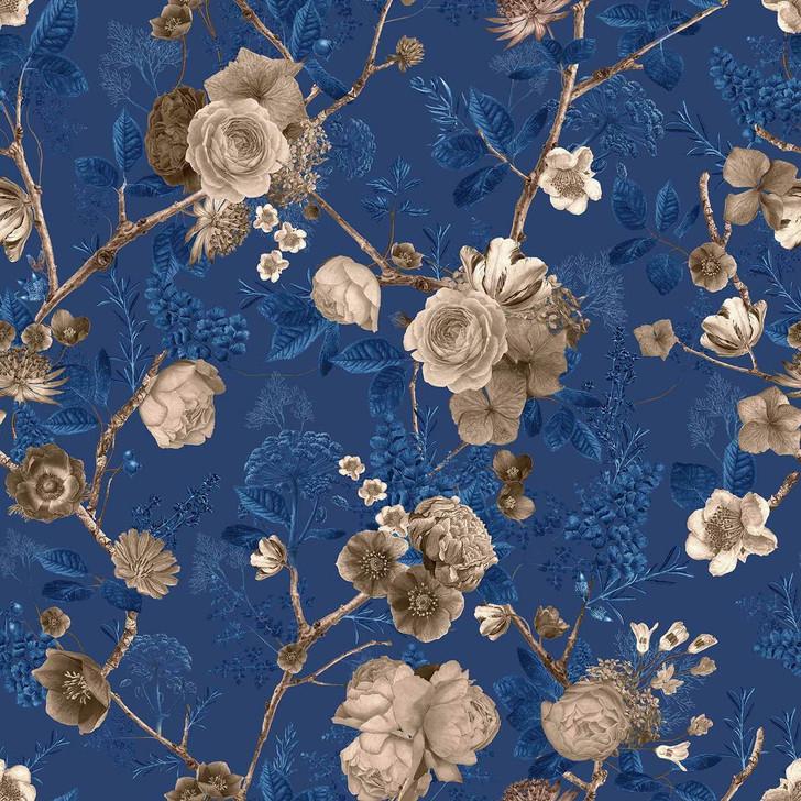 Carolyn Jenkins Floral Spring Sepia and Navy Blue Wallpaper