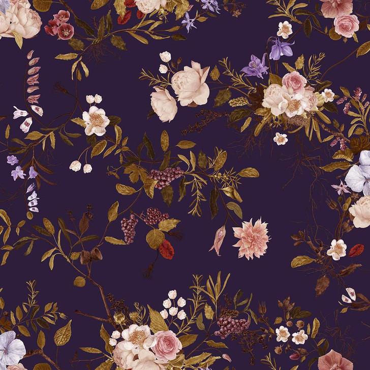 Carolyn Jenkins Wildflower Pattern Purple and Pinks Wallpaper