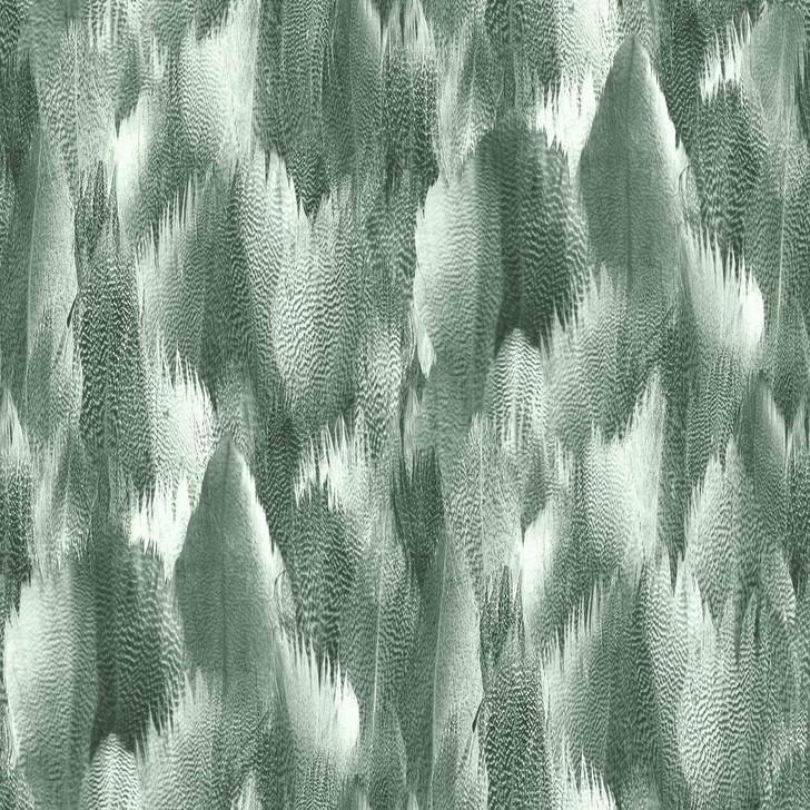 Kirin Young Natural Feathers Silver Green Wallpaper