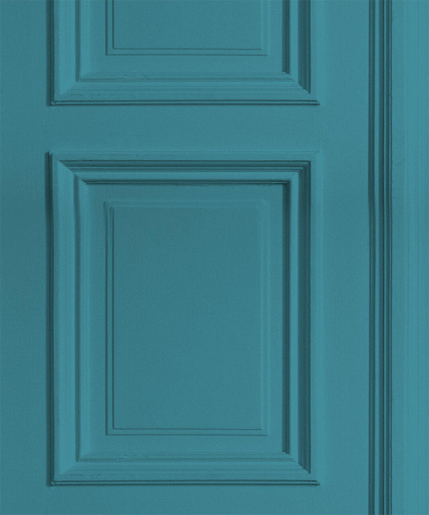 Young and Battaglia Teal Panelling Wallpaper