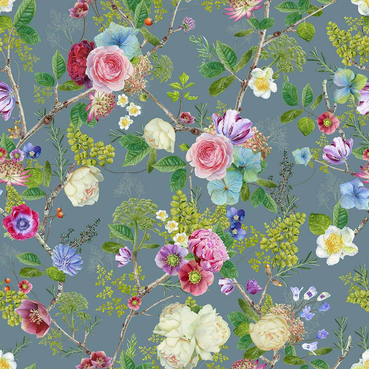 Carolyn Jenkins Floral Spring Blue Grey and Green Wallpaper