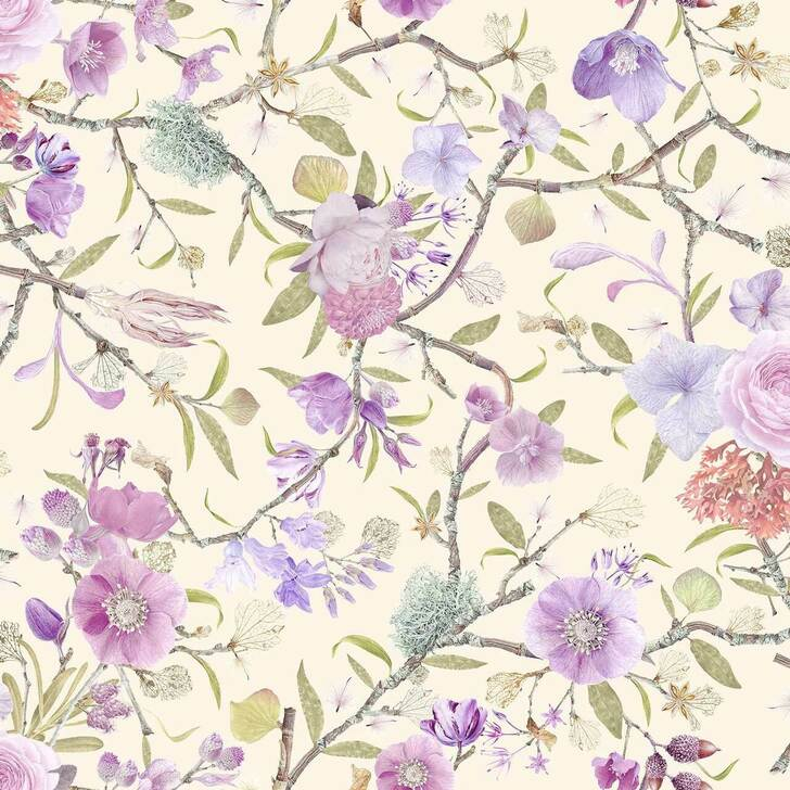Carolyn Jenkins Kilburn Heritage cream and lilac wallpaper