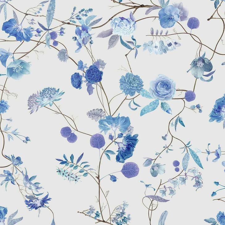Carolyn Jenkins Botanical Chinoiserie White and Blue Wallpaper