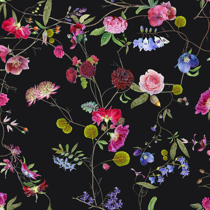 Carolyn Jenkins Botanical Chinoiserie Black and Colours Wallpaper