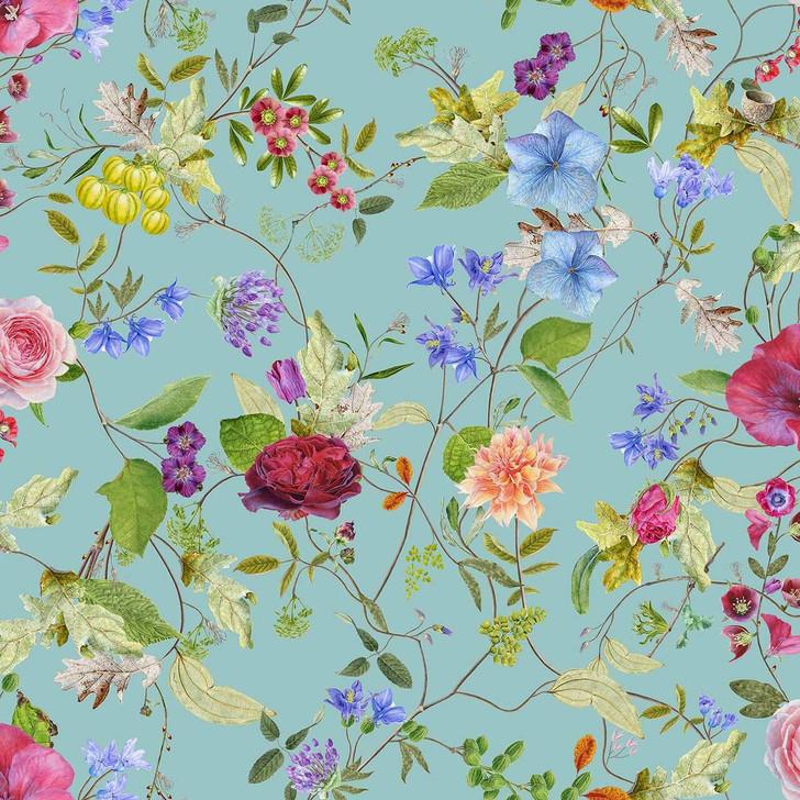 Carolyn Jenkins Meadow Pattern Flower Minty Green Wallpaper