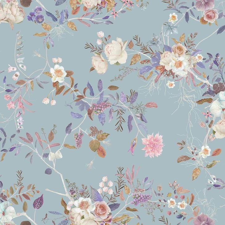 Carolyn Jenkins Wildflower Pattern Duck Egg Blue Wallpaper