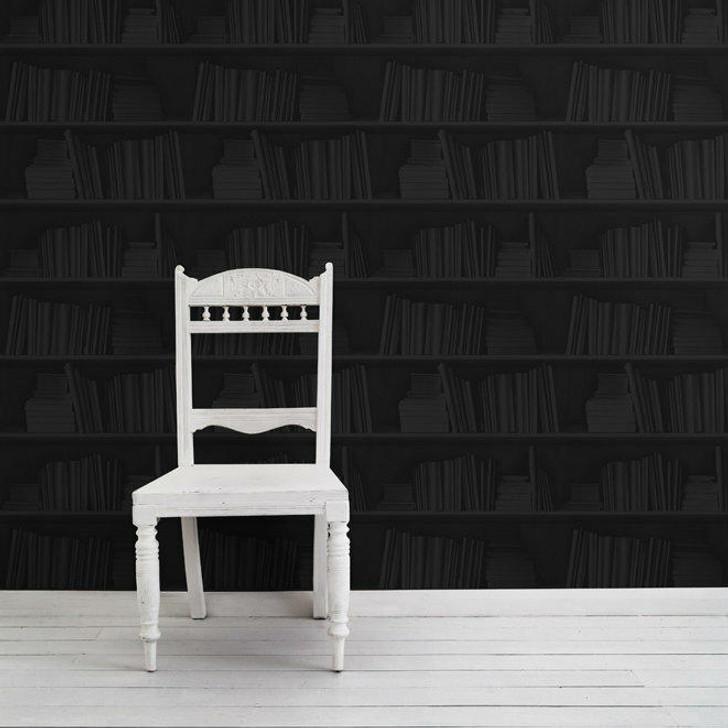 Young and Battaglia Black Bookshelf Wallpaper