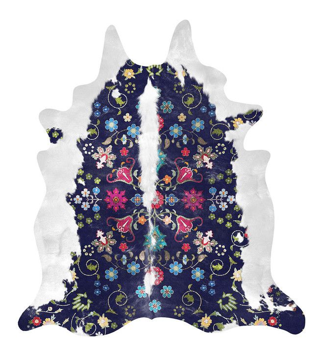Young and Battaglia Gypsy Faux Cowhide Navy Rug