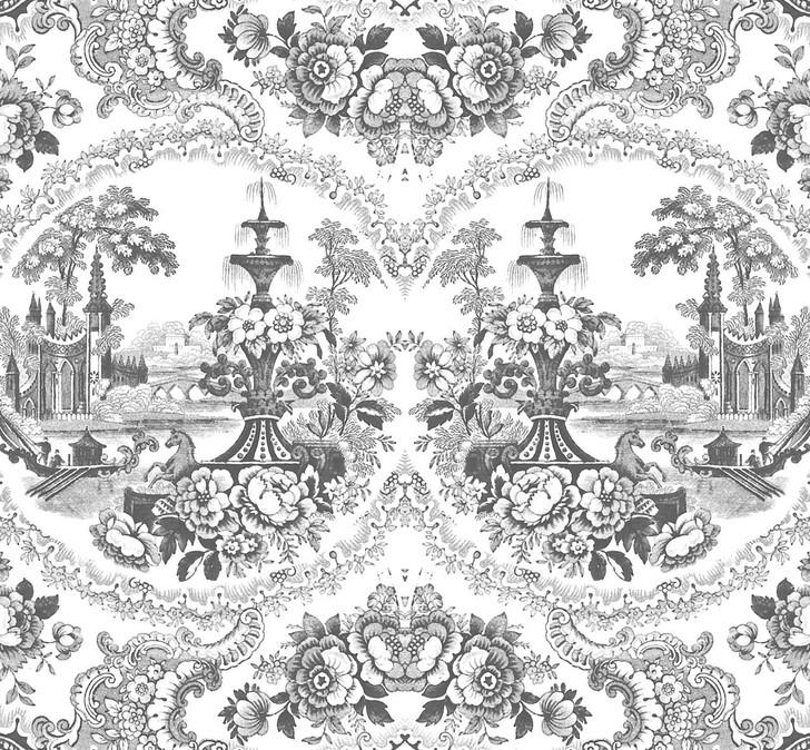 Young and Battaglia Delft Baroque Wallpaper - Black