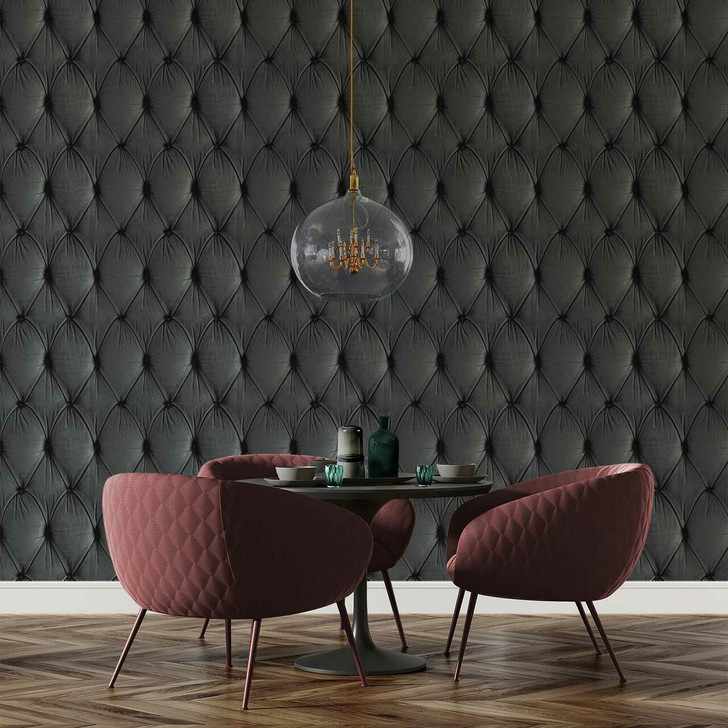 Young and Battaglia Grey Chesterfield Button Back Wallpaper