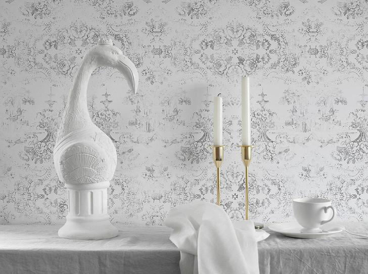 Young and Battaglia Almost White Delft Baroque Wallpaper