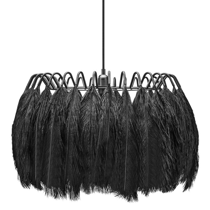 Young and Battaglia All Black Feather Pendant Lamp