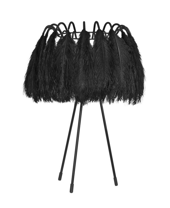 Young and Battaglia All Black Feather Table Lamp