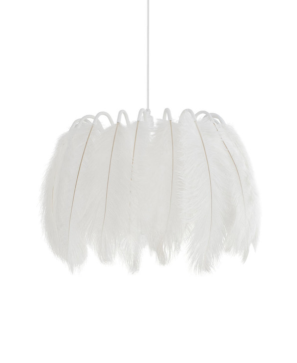 Young and Battaglia All White Feather Pendant Lamp