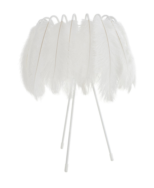 Young and Battaglia All White Feather Table Lamp