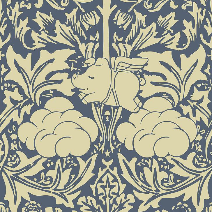Young and Battaglia Morris Dream - Cream and Blue Wallpaper