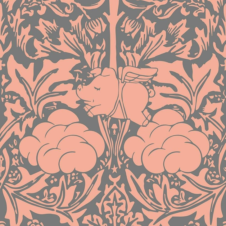Young and Battaglia Morris Dream - Peachy Pink And grey Wallpaper