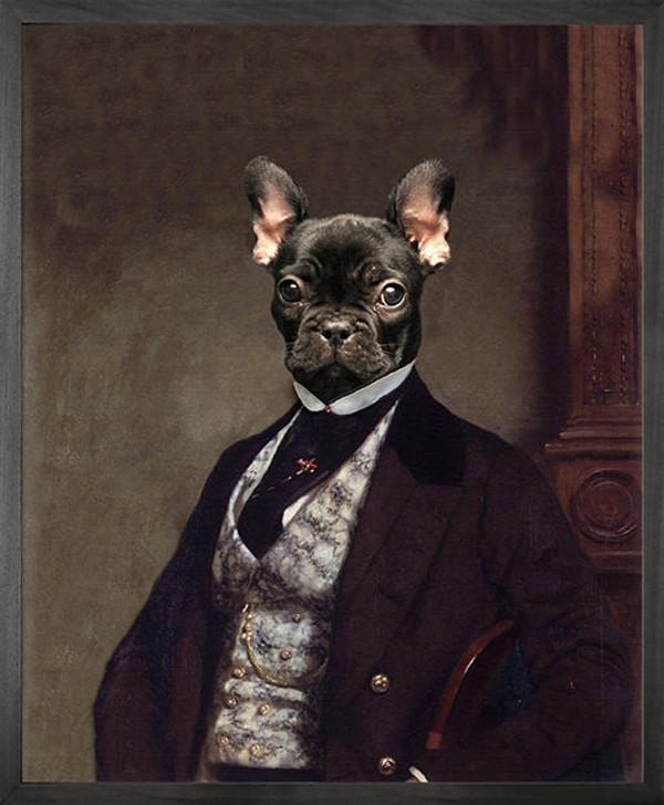 Angela Rossi Portrait of French bulldog Canvas