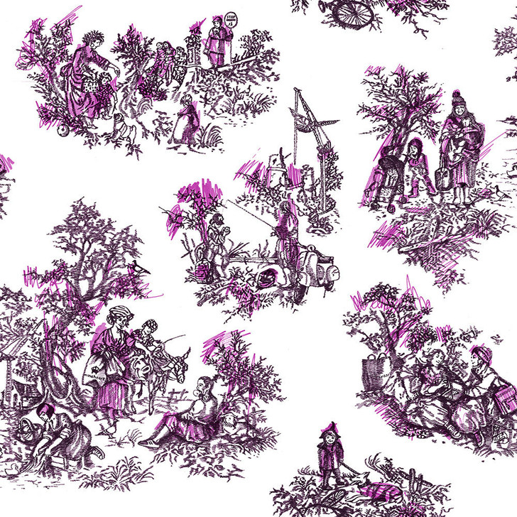 Young and Battaglia Once Upon Our Time Wallpaper - White and Pink