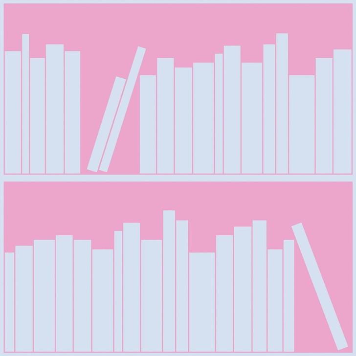 Emanuele Pangrazi Blue and Pink outline bookshelf wallpaper