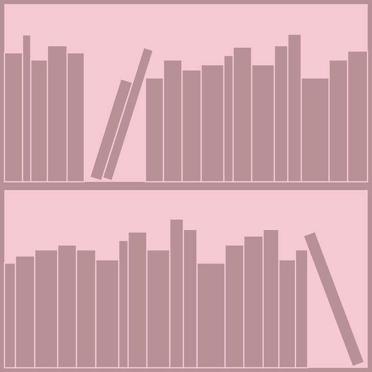 Emanuele Pangrazi Tonal Pink outline bookshelf wallpaper