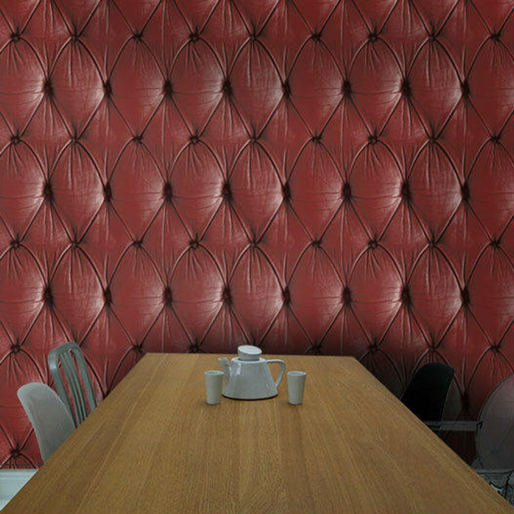 Young and Battaglia Red Chesterfield Button Back Wallpaper