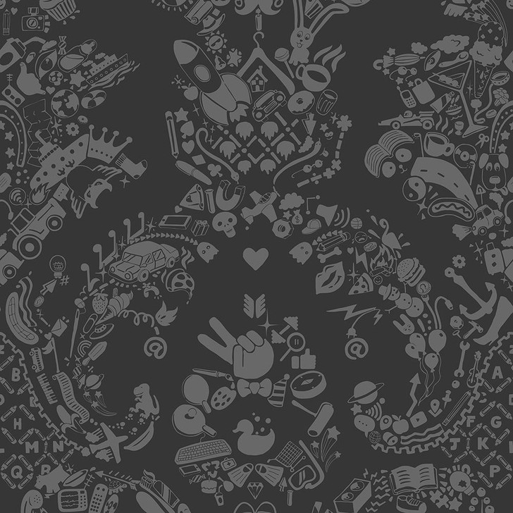 Young and Battaglia New World Damask Wallpaper- Grey and Grey