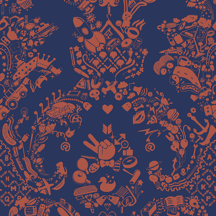Young and Battaglia New World Damask Wallpaper- Purple and Orange