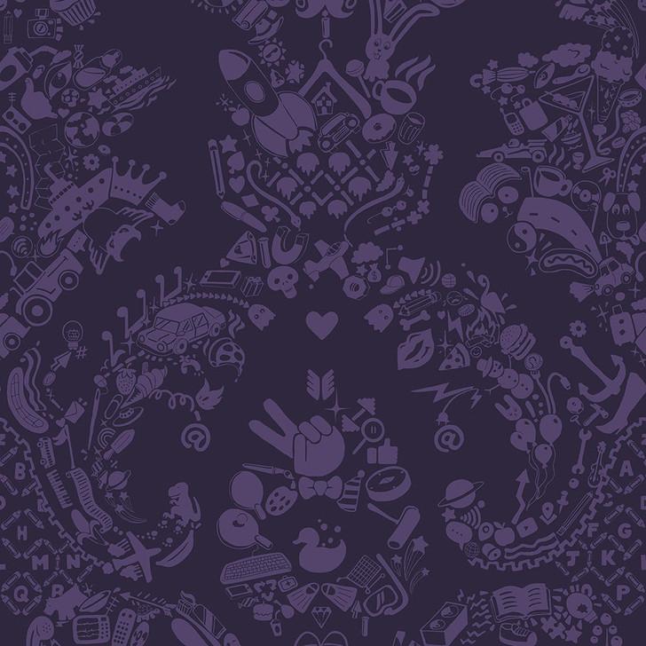 Young and Battaglia New World Damask Wallpaper- Purple and Purple