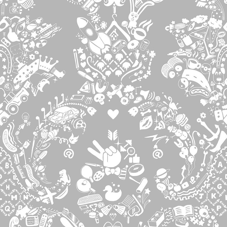 Young and Battaglia New World Damask Wallpaper- White and Grey