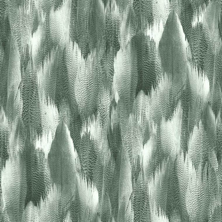 SAMPLE -Natural Feathers Silver Green Wallpaper