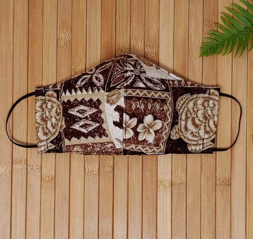 Reusable face mask, filter pocket, washable face mask, dust mask, adult face mask, mouth mask, fabric, cotton face mask, cloth protective mask, hawaiian, aloha, hawaiian face mask, pattern face mask, fashion face mask, summer face mask, washable face mask, made in usa, local, brown,  tiki