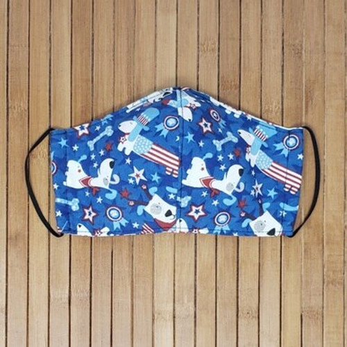 Patriotic Pups, Facemask with dogs, dogs face mask,  red, white, blue, 4th of July,%100 cotton, pattern face mask,  Patriotic, made in the usa,