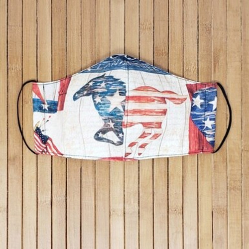 4th of July, Patriotic, Red, White, Blue, Horses, America, USA, Independence, American, Flag, Stars, Stripes, Face Masks, Vintage