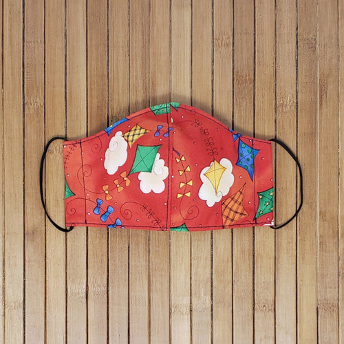 Kite, Children's Face Mask, Red, Multicolor, Elastic, Fun, Summer Face Mask, Small Sized Face Mask,
