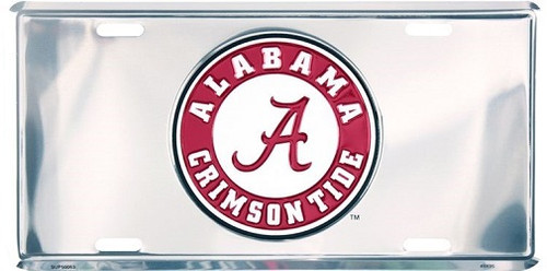 Alabama Crimson Tide NCAA Silver Mirror License Plate