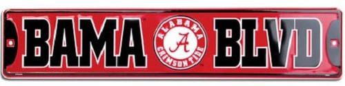 """Alabama Crimson Tide NCAA """"Bama Blvd"""" Street Sign"""