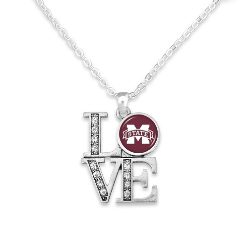 Mississippi State Bulldogs NCAA Charm Necklace Love, Team Logo