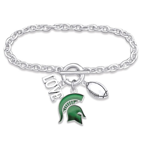 Michigan State Spartans NCAA 3 Charm Bracelet , Love Football, Team Logo