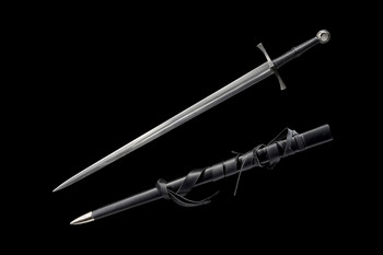 Two handed medieval long sword with single fuller
