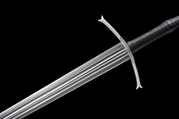 Two handed medieval long sword with double fuller
