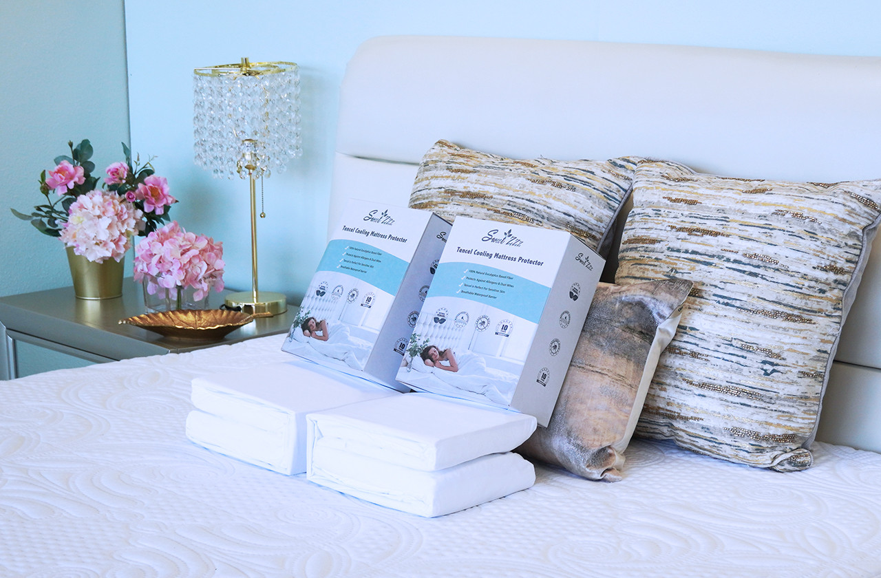 Sweet Zzz cooling mattress protector on bed