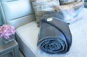 Sweet Zzz weighted blanket folded to show both sides of the cover