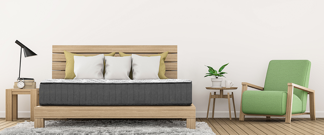 Natures Novel Mattress on a wooden bed in a contemporary room